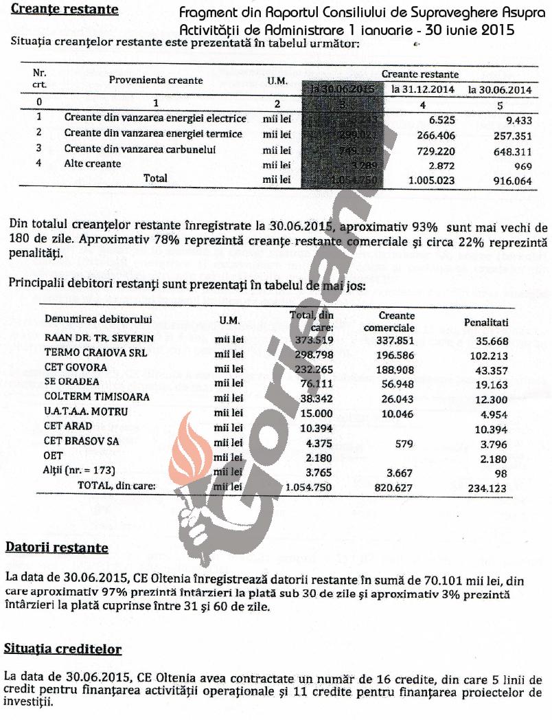 fragment din Raportul Consiliului de Supraveghere asupra activitatii de administrare 1 ianuarie - 30 iunie 2015