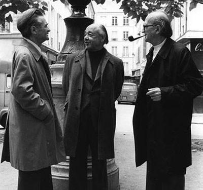 1.Emil Cioran, Eugen Ionescu LÖi Mircea Eliade, la  Paris.