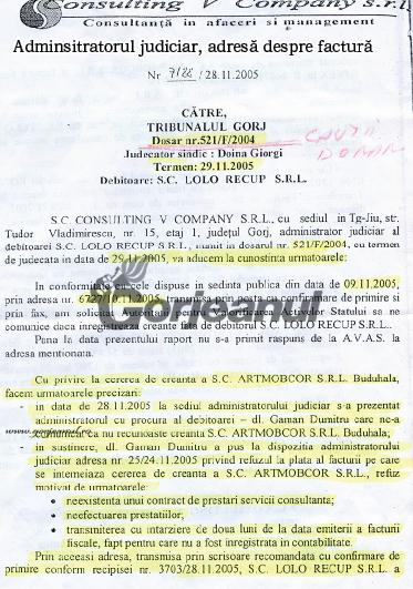 adminsitratorul judiciar, adresă despre factură pag1