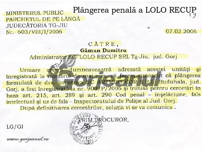 plangerea penală a LOLO RECUP